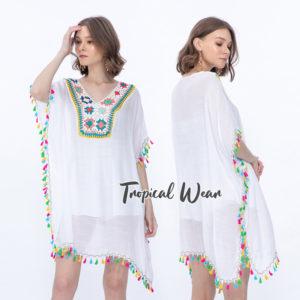 เสื้อถักโครเชต์ทรงค้างคาว สีขาว