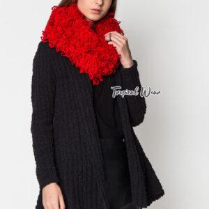 ผ้าพันคอโดนัท ไหมพรมถักสีแดง