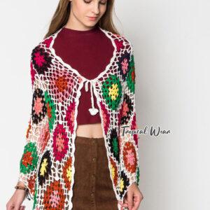 เสื้อคลุมสไตล์โบฮีเมี่ยน ผ้าไหมพรมถักหลากสีสัน