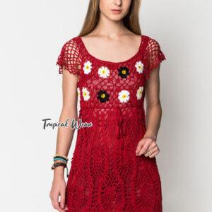 ชุดเดรสสั้นสีแดง ผ้าโครเชต์ถัก ลายดอกไม้